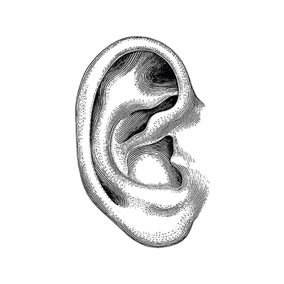 Human ear hand draw vintage clip art isolated on white background